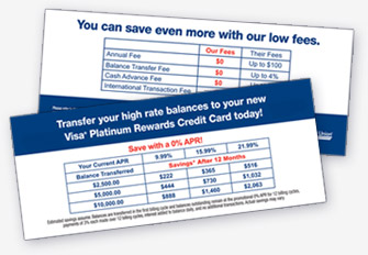 Credit Union Direct Mail Comparison Chart